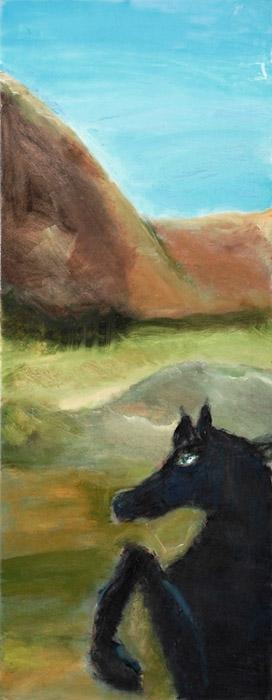 """סוס שחור (דיפטיך) 45X118 ס\""""מ"""